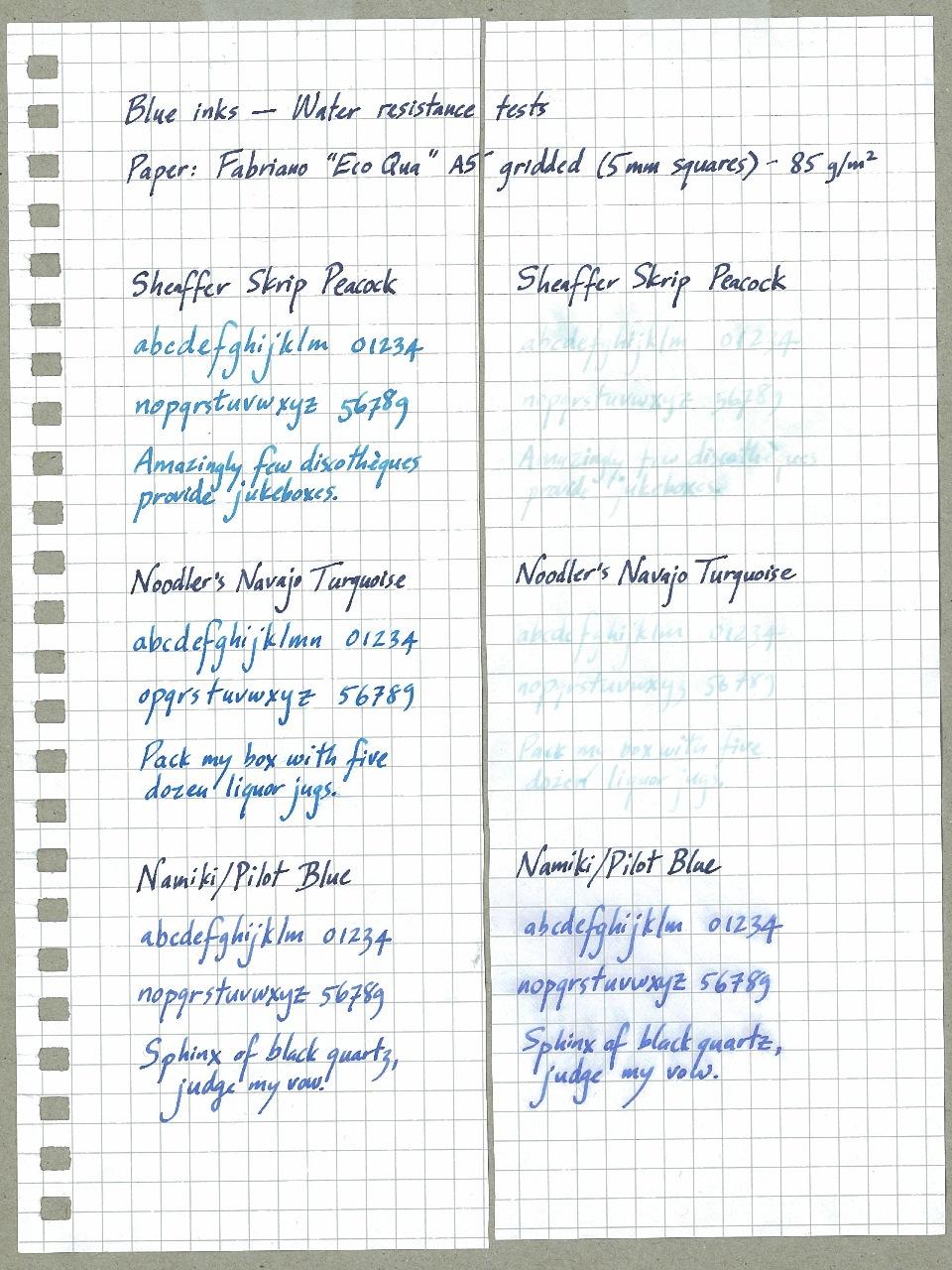 Blue Inks Water Resistance Tests -- 15 Inks - Ink